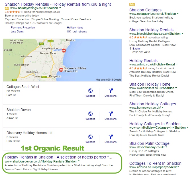 Localised results are pushed below paid and mapping