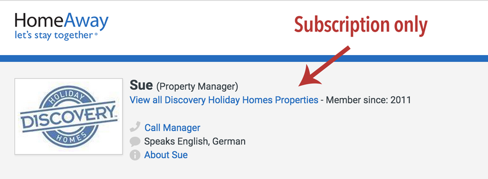 Homeaway bidding on subscription only property names