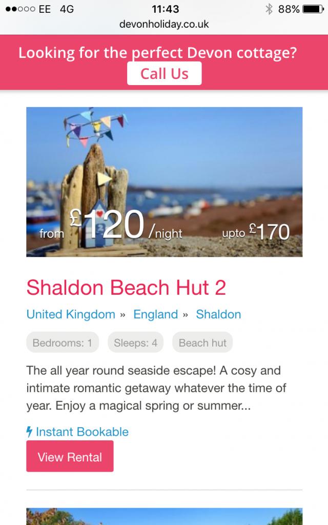 Mobile vacation rental website
